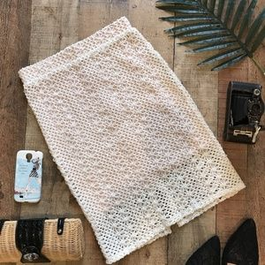 Free People Cream Crochet Pencil Skirt Stretch